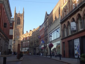 Old rows of shops and Derby Cathedral complete with resident peregrine falcons