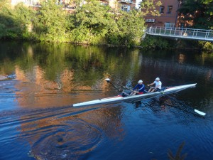 Rowers on the Derwent River beside Silk Mill