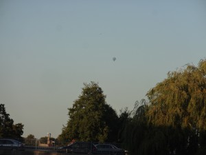 Hot air balloon seen above Silk Mill