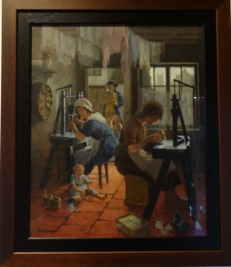 Photo of painting showing use of pin heading machine at home