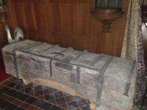 Very old parish chest. The parish chest held the BDM registers and other important documents in the olden days
